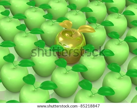 Fresh delicious apples in a rows.Leadership concept. This is detailed 3D render.Isolated on white - stock photo
