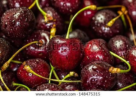 Fresh Delicious Cherries. Studio Shot - stock photo