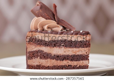 fresh delicious Dark chocolate cake background - stock photo