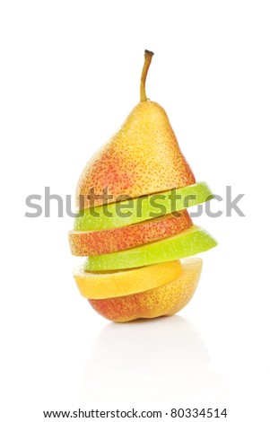 Fresh delicious fruits isolated on white. Pear, apple and lemon slices. Fresh summer salad.