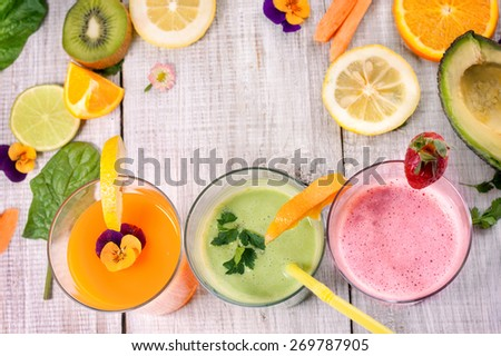fresh delicious juice and smoothie - stock photo