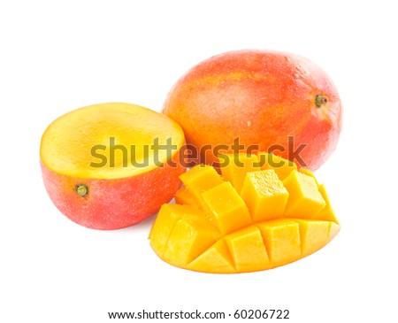 Fresh delicious mango fruit and slice isolated on white background - stock photo