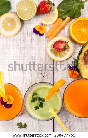 fresh delicious smoothie and juice  - stock photo