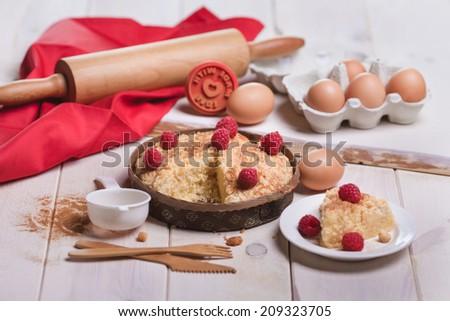Fresh dessert of fruit tart with raspberries  - stock photo