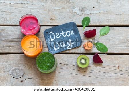 Fresh Detox Juices/Detox day concept - stock photo