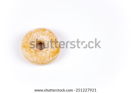Fresh donut with icing sugar isolated on white background - stock photo