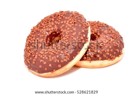 Fresh donuts with chocolate isolated on white