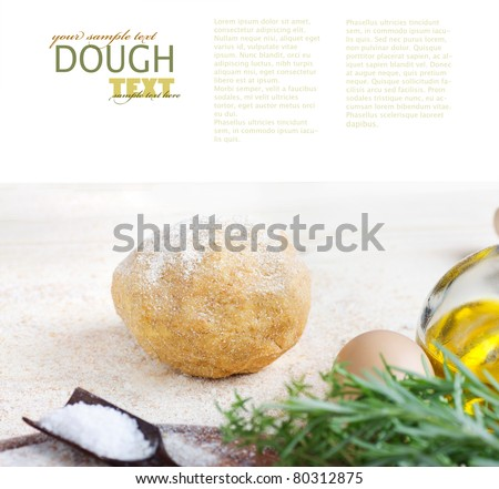 Fresh dough ball with egg, olive oil and salt. Selective focus. - stock photo