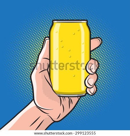 Fresh Drink Can in Hand - stock photo