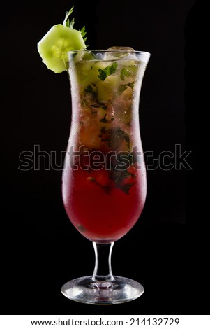 Fresh drink coctails, green mint and lime on a black background - stock photo