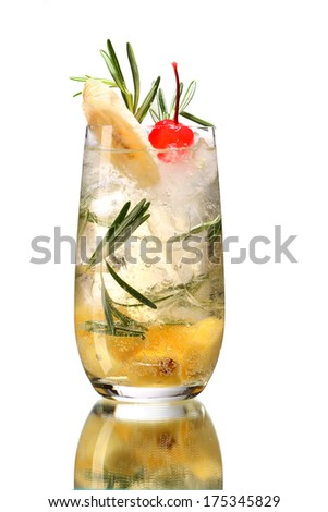 Fresh drink garnished with banana and cherry / studio photography of beverages isolated on white background with reflection  - stock photo