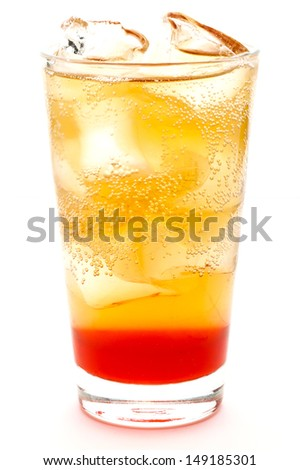 Fresh drink with red syrup and fizzy water - stock photo