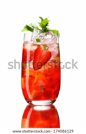 Fresh drink with strawberry / studio photography of beverages isolated on white background with reflection  - stock photo