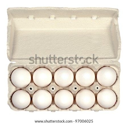 Fresh easter eggs in a box,pot or package isolated on white background.Copy space - stock photo