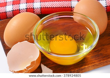 Fresh egg in a bowl