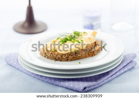 Fresh egg salad with chives and bacon on whole wheat bread - stock photo