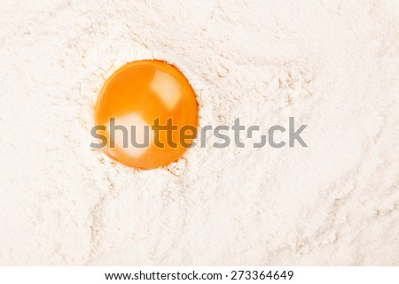 Fresh Egg yolk on flour on black background - stock photo