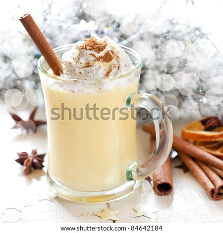 fresh eggnog with cream for christmas - stock photo