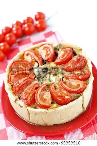 Fresh eggplant and tomato pie - stock photo