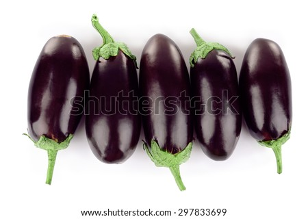 Fresh eggplant isolated on white - stock photo