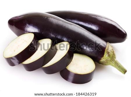 fresh eggplant isolated on white background - stock photo