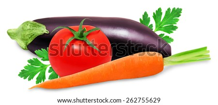 Fresh eggplant, orange carrot and red tomatoes isolated on a white background - stock photo