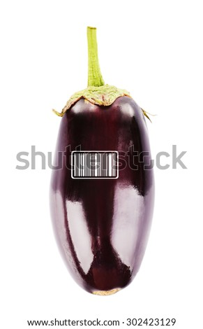 Fresh eggplant with barcode isolated on white - stock photo
