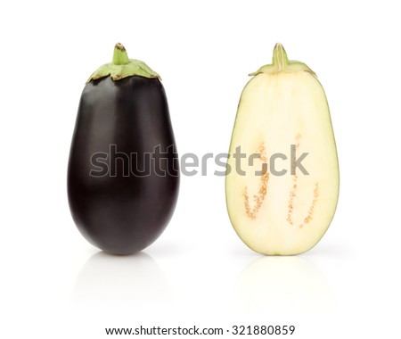 Fresh Eggplant with half isolated on white background