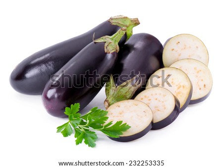 Fresh eggplant with parsley branch on white background - stock photo