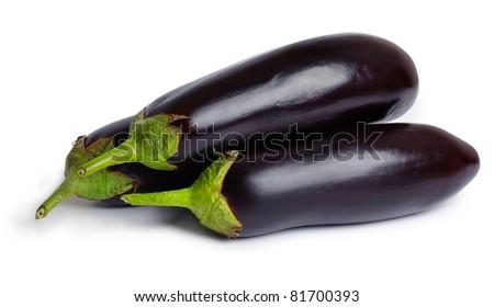 Fresh eggplants (aubergines) isolated on a white background - stock photo