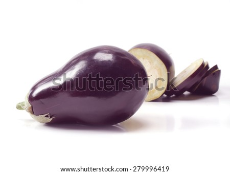 fresh eggplants in white background - stock photo