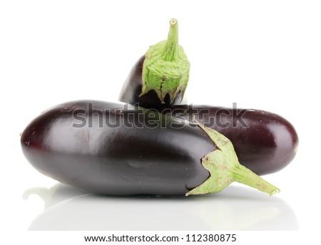 Fresh eggplants isolated on white - stock photo