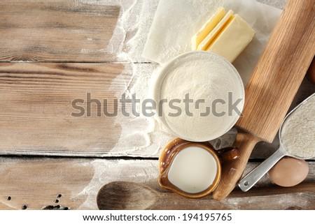 fresh eggs flour and pasta  - stock photo