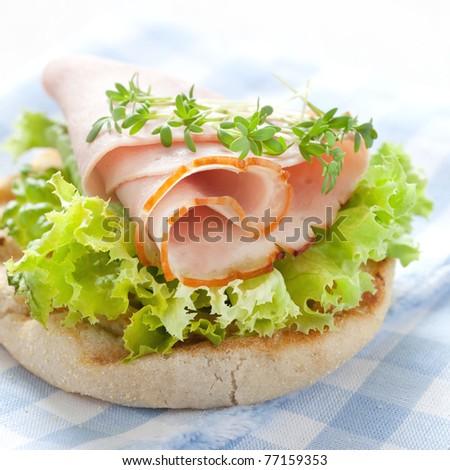 fresh english muffin with ham - stock photo