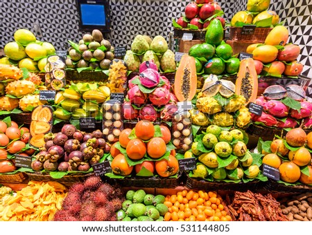 Fresh exotic Fruits at the Market
