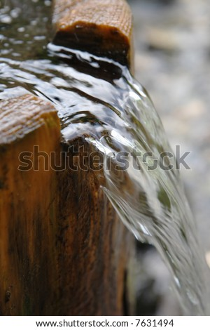fresh falling pouring water wood drink environment - stock photo