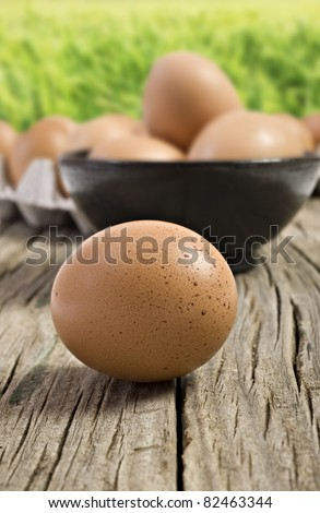 Fresh farm eggs ready to be cooked - stock photo