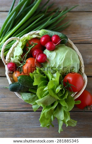 fresh farm vegetables top view, healthy food - stock photo