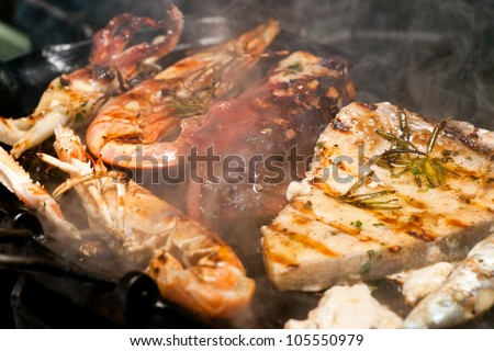 Fresh fidh cooked in a grill. - stock photo