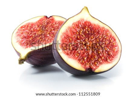 Fresh figs isolated on white - stock photo
