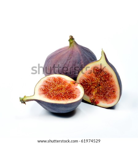 fresh figs isolated on white background - stock photo