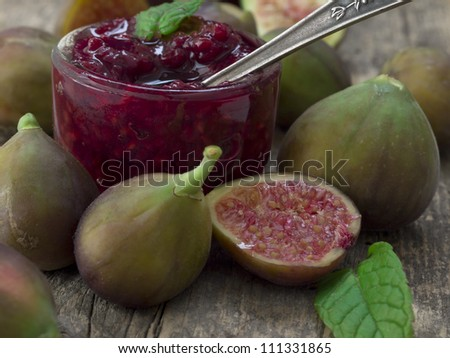 fresh figs with jam - stock photo
