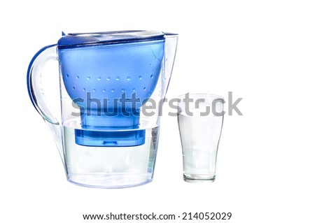 Fresh filtered water for drink isolated on white background - stock photo