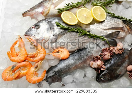 Fresh fish and other seafood on ice - stock photo