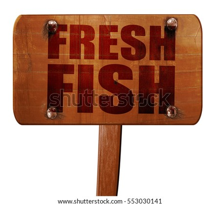 fresh fish, 3D rendering, text on wooden sign