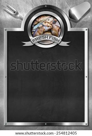 Fresh Fish - Empty Blackboard. Empty blackboard on a metallic background with kitchen utensils and symbol with fresh fishes. Template for recipes or seafood menu - stock photo