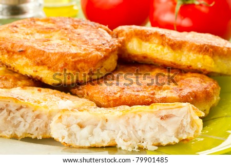 fresh fish fillets fried in batter - stock photo