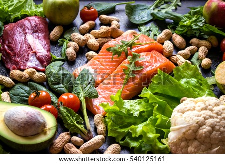 Paleo stock images royalty free images vectors for Fish and veggie diet