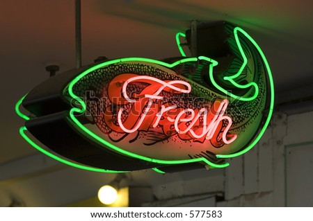 Fresh fish sign in Seattle's Pike place market - stock photo