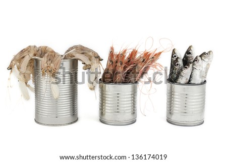 fresh fishes, sardine and crustaceans, in tin can as a preserved food - stock photo